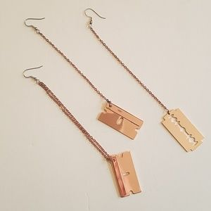 3 rose gold razor earrings